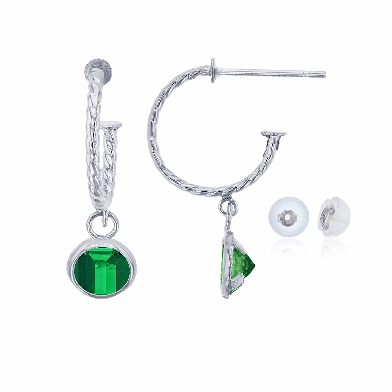 10K White Gold 12mm Rope Half-Hoop with 4mm Round Created Emerald Bezel Drop Earring with Silicone Back