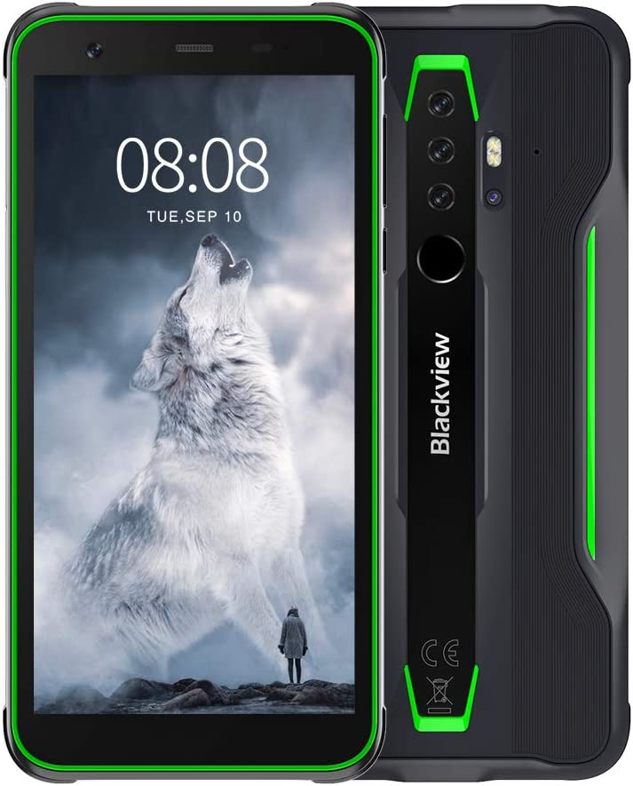 Blackview BV6300Pro Android 10 Rugged Cell Phones, 16MP HDR Quad Rear Cameras, 6GB+128GB IP68/69K Smartphone, 4380mAh Battery Wireless Charge 11.6mm Slim Body 4G - Green