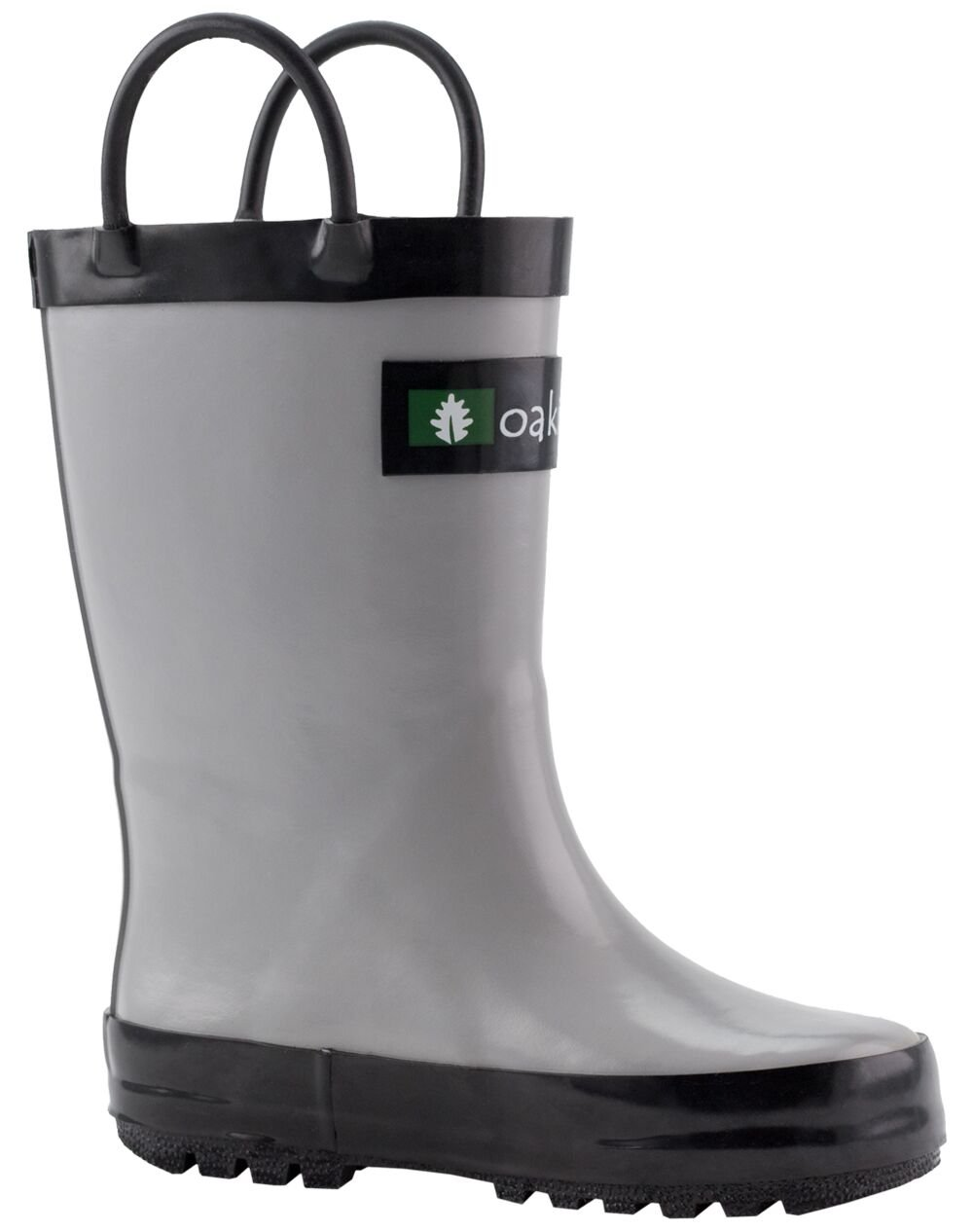 Oakiwear Kids Waterproof Rubber Rain Boots with Easy-On Handles, Gray & Black, 4T US Toddler