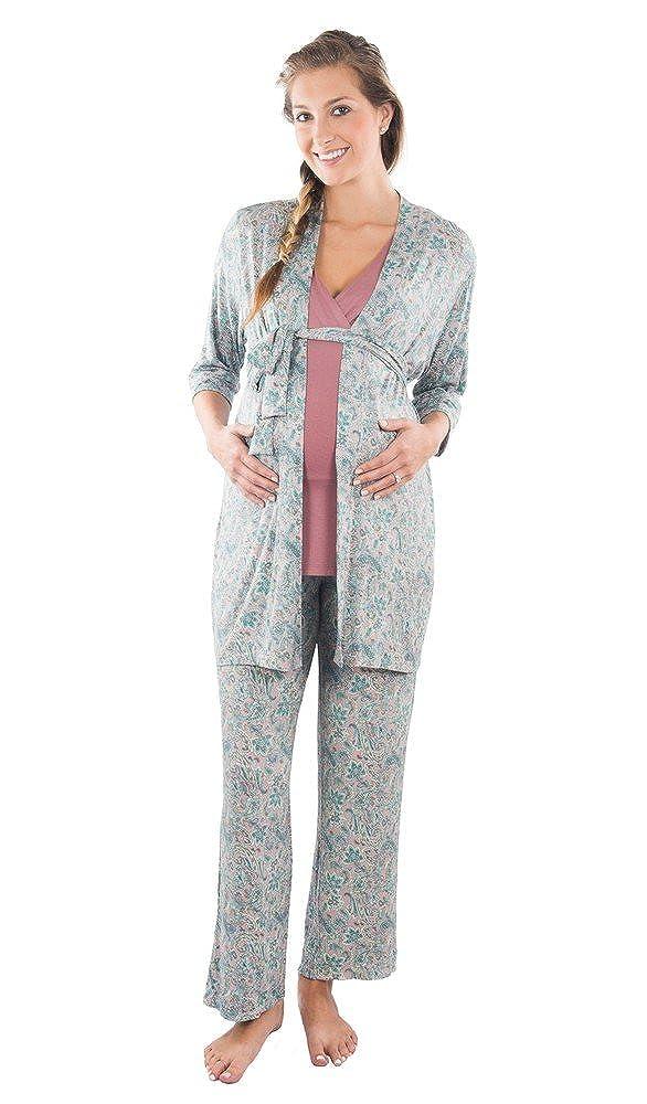 Everly Grey Womens Maternity Maternity Susan and Nursing 5 Piece Pajama Set Everly Grey - Kalia Partners J106