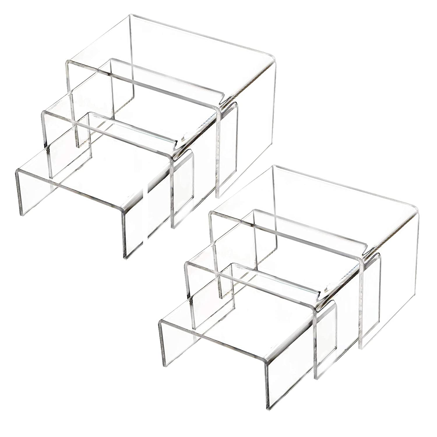 2 Sets Clear Acrylic Display Risers, Display Riser Stands Showcase for Jewelry, Cupcake and Figures, with Sticky Protective Film - 3 Sizes