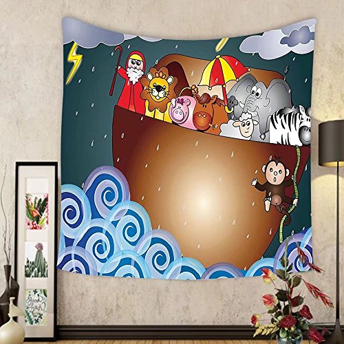 Gzhihine Custom tapestry Noahs Ark Decor Tapestry Noahs Ark Illustration Before The Journey All Animals Myth Faith Grace Old Story Artprint Bedroom Living Room Dorm Decor Multi by Gzhihine