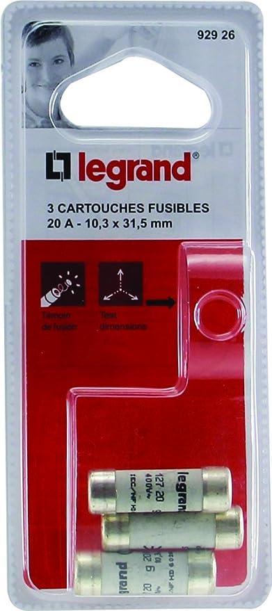 Legrand LEG92926 Set de 3 cartuchos fusibles 20 A, 10,3 x 31,5 mm