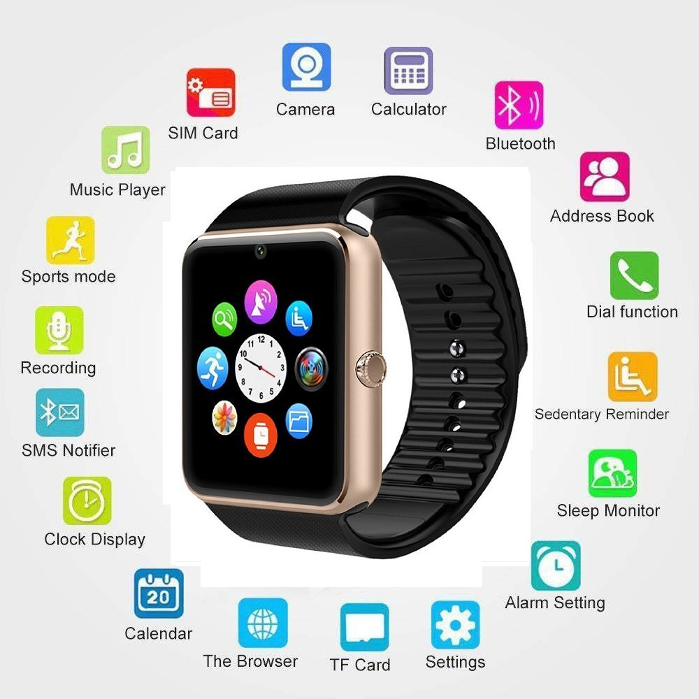 Reloj inteligente SNT World con Bluetooth GT08 con cámara y ...