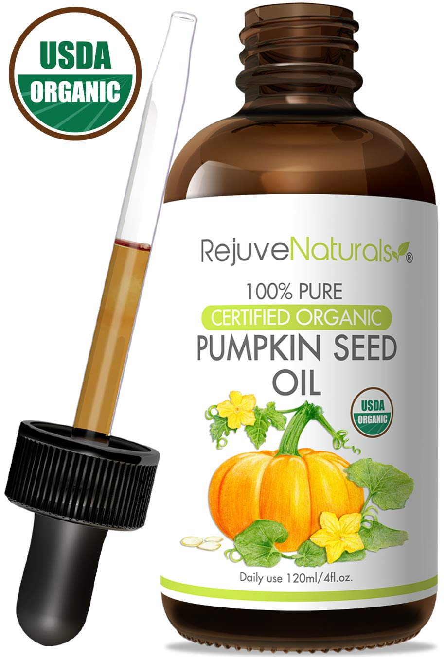 Organic Pumpkin Seed Oil (4oz) USDA Certified Organic, 100% Pure, Cold Pressed. Boost Hair Growth for Eyelashes, Eyebrows & Hair. Overactive Bladder Control for Men & Women. Skin Moisturizer by RejuveNaturals