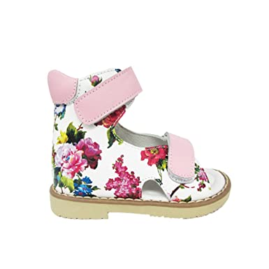 701b9e831a Image Unavailable. Image not available for. Color: Lovely Children Pink  Flowered Printing Leather Orthopedic Shoes Kids Girls Sandals ...
