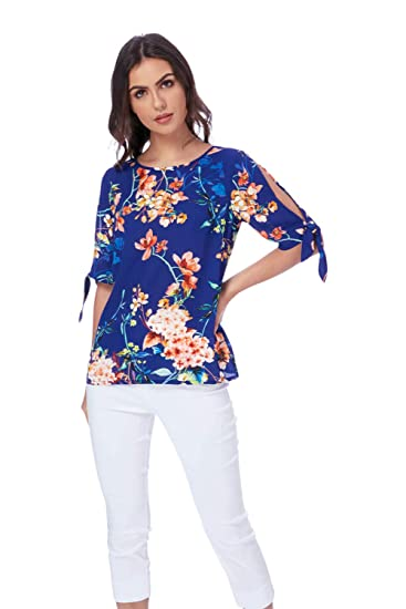 cc66a52608fa8 Roman Originals Women Floral Print Split Sleeve Top - Ladies Round Neck 3 4  Sleeve Tropical Oriental Daytime Tops - Royal Blue  Amazon.co.uk  Clothing