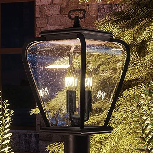 Luxury French Country Outdoor Post Light, Medium Size 18 H x 9.5 W, with Mediterranean Style Elements, Soft and Simple Design, Inky Black Silk Finish and Seeded Glass, UQL1203 by Urban Ambiance