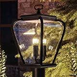 Luxury French Country Outdoor Post Light, Medium Size: 18''H x 9.5''W, with Mediterranean Style Elements, Soft and Simple Design, Inky Black Silk Finish and Seeded Glass, UQL1203 by Urban Ambiance