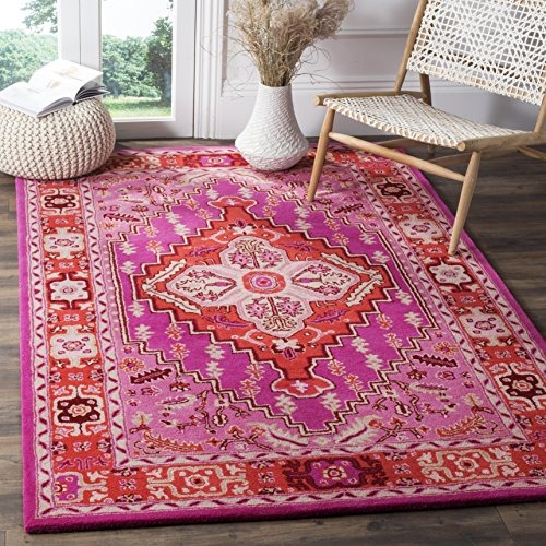 Safavieh Bellagio Collection BLG545B Red and Pink Bohemian Medallion Area Rug 6 x 9