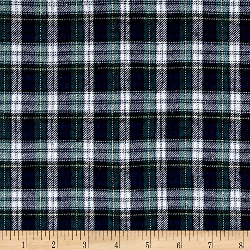 Richland Textiles Yarn Dyed Flannel Plaid Green Navy White Fabric By The Yard (Flannel 5 Shirt Oz)