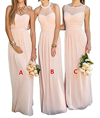 Vweil Long Rustic Chiffon Lace Bridesmaid Dress Formal Evening Prom Gowns Petal Pink US2