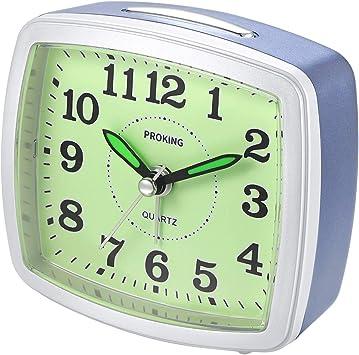 Wecker Uhr Analog Tischuhr Reisewecker Quarzwecker ohne Ticken Kinder Geschenk