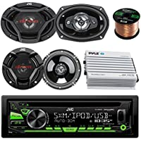 JVC Single Din Car AM/FM CD/MP3 iPod/iPhone USB/Pandora Radio, Remote, 2 x 6.5 Speakers 2 6x9 Inch Car Speaker 4 Channel Bluetooth Amp and 50 ft Enrock Speaker Wire JVC Car Audio Package