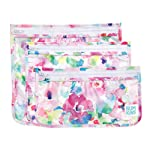 Bumkins Tsa Approved Toiletry Bag, Travel Bag, PVC-Free, Vinyl-Free, Clear Front, Set of 3 - Watercolor
