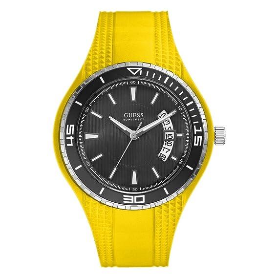 Guess W95143G6 - Reloj analógico de cuarzo para hombre con correa de silicona, color amarillo