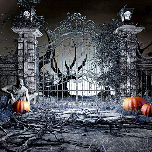 OFILA Halloween Party Backdrop 10x10ft Haunted Castle Photos Background Zombie Shoots Halloween Eve Events Kids Halloween Photo Shoot Studio Props]()