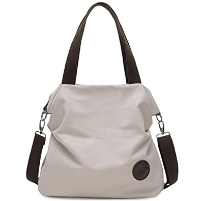 2aae688269ee Simple Style Women s Handbag Canvas Shoulder Crossbody Bag Hobo Purse Large  Casual Bag (Beige)