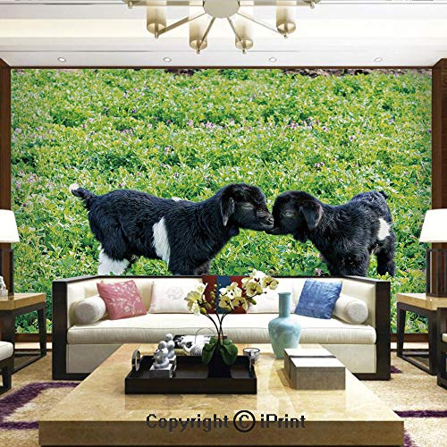 Lionpapa_mural Removable Wall Mural | Self-Adhesive Large Wallpaper,Baby Sheep with Nature Hills Garden Flowers Lavenders Grass Image,Home Decor - 66x96 inches