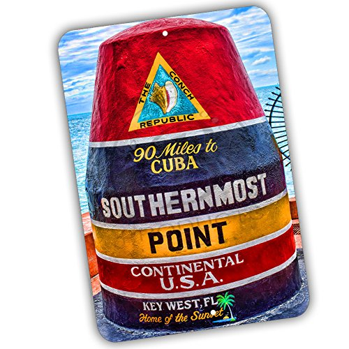 The Conch Republic Key West The Southernmost Point 8x12 Metal Sign]()