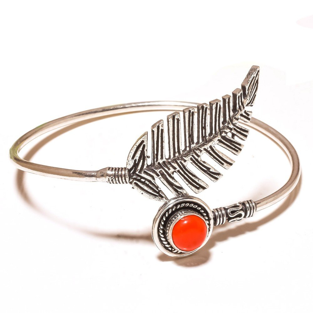 Designer Jewelry Red Coral Sterling Silver Overlay 15 Grams Bangle//Bracelet Free Size