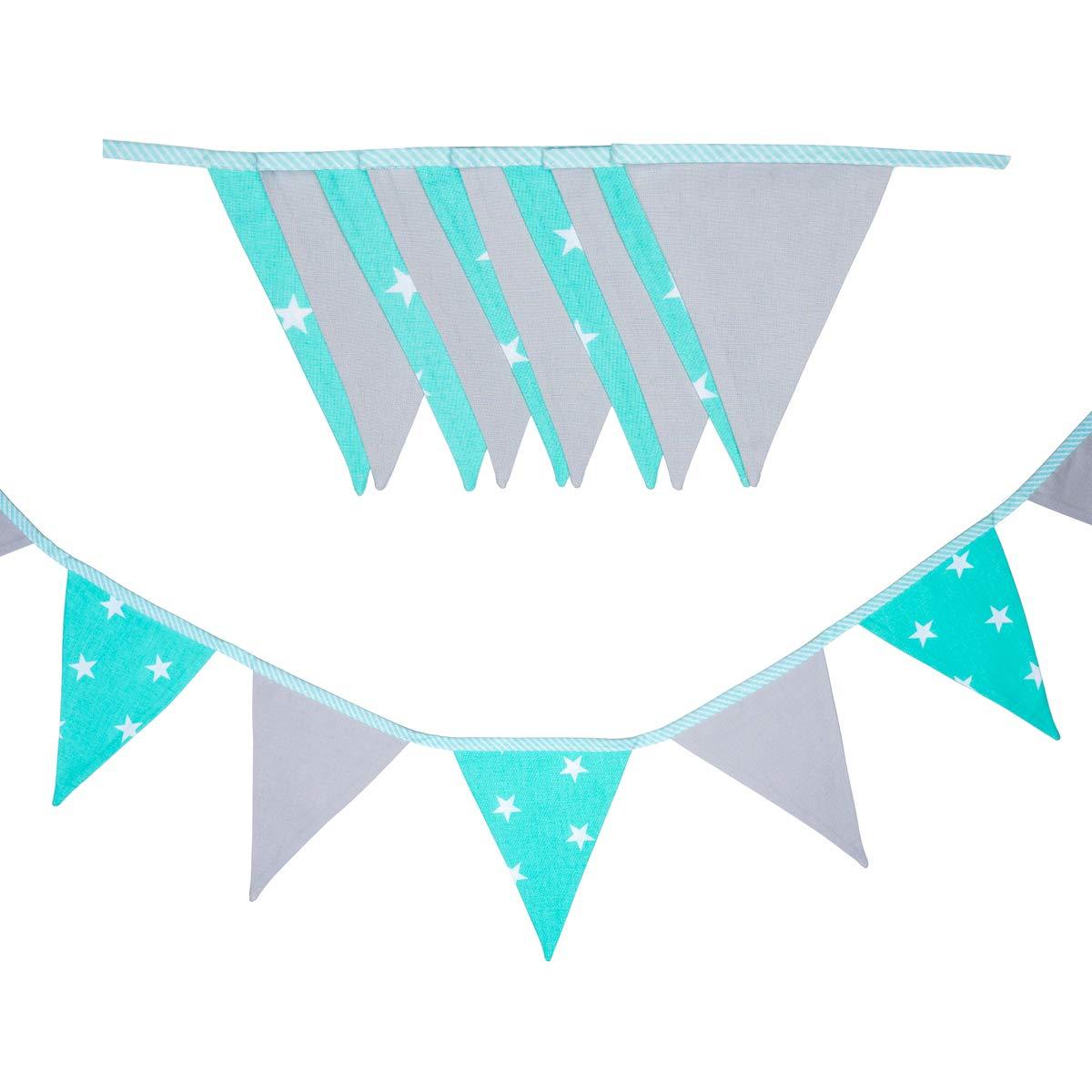 100/% Baumwolle farbenfrohe Girlanden f/ür Kinderzimmer /& Baby Geburtstage cozydots doppelseitig Wimpelkette Black /& White, 165 Kinderzimmer dekorieren, Stoff-Girlande