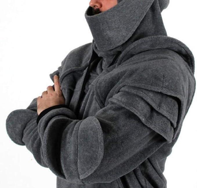 YONGM Mens Warm Drawstring Long Sleeve Mask Knight Hoodie Pullover Sweatshirt
