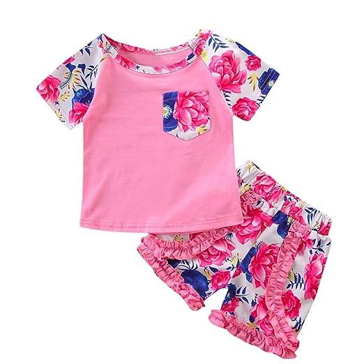 395d1c68d24 Amazon.com  Minisoya 2Pcs Toddler Kids Baby Girls Boho Floral Printed Short  Sleeve Tops T-Shirt Ruffle Flower Shorts Outfit Set  Clothing
