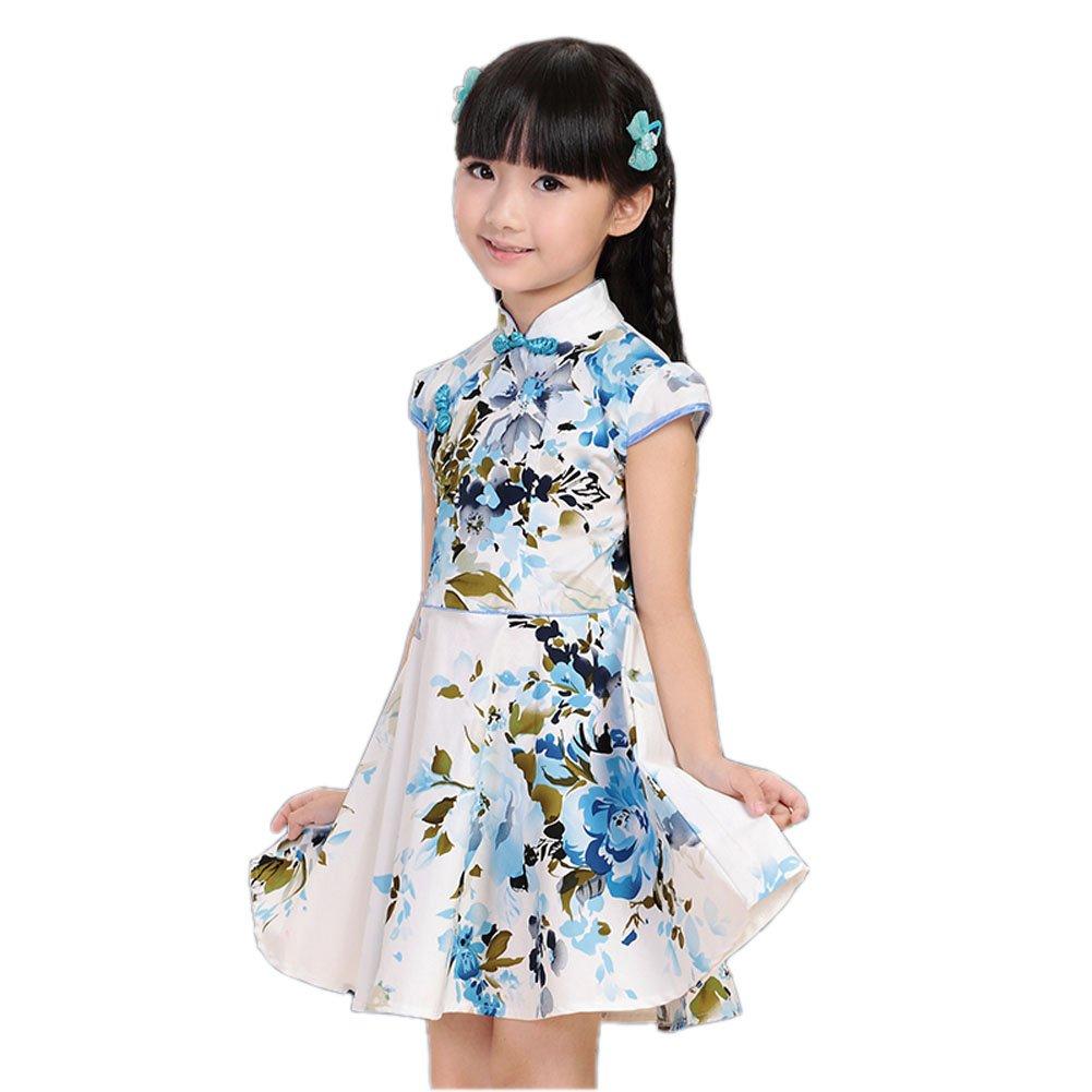 [BLUE Flowers] Classical Elegant Chinese Traditional Girls Cheongsam Dress, 110cm BT-CLO1045470-YUKI01525