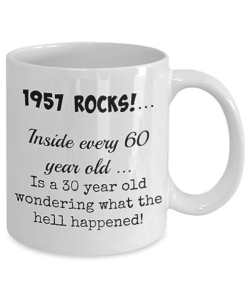 FUNNY 1957 60th BIRTHDAY COFFEE MUG FOR MEN OR WOMEN