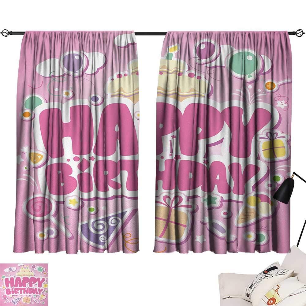 Jinguizi Kids Birthday Curtains/Panels/Drapes Cartoon Seem Party Image Balloons Boxes Clouds Cake Celebration Image Print reducing Noise Darkening Curtains Light Pink W55 x L39