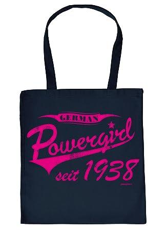 0894c572b3159 Stofftasche mit Geburtstagsmotiv  German Powergirl seit 1938 - Tasche -  Einkaufstasche - navyblau