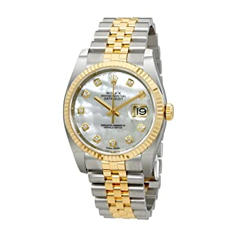 934eff998f0 Image Unavailable. Image not available for. Color: Rolex Oyster Perpetual  Datejust 36 Mother of Pearl Dial Stainless Steel and 18K ...