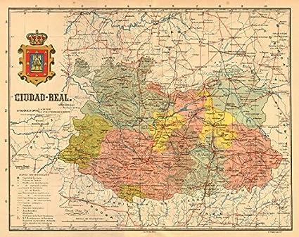 Map Of Spain La Mancha.Amazon Com Ciudad Real Castilla La Mancha Mapa Antiguo De La