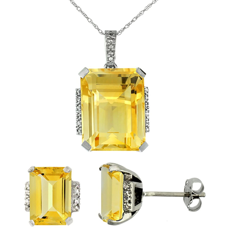10K White Gold Natural Octagon Citrine Earrings & Pendant Set Diamond Accents