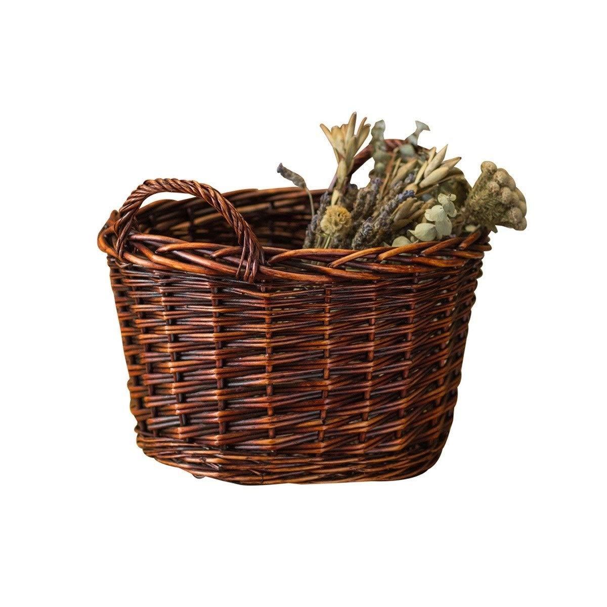 QINRUIKUANGSHAN Wicker Dirty Clothes Storage Basket, Basket Rattan Frame, Kitchen Woven Bamboo Basket, Storage Basket Large Bread Basket, (Color : Natural, Size : 2824cm) by QINRUIKUANGSHAN