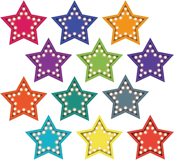 Bling Stars Colorful Cut-Outs Sticker, Fall Classroom Décor, 50 Pcs Assorted Designs, Back-to-School Decoration for Bulletin Board/Black Board Trim, Teacher/Student Use for Classroom/School Decoration