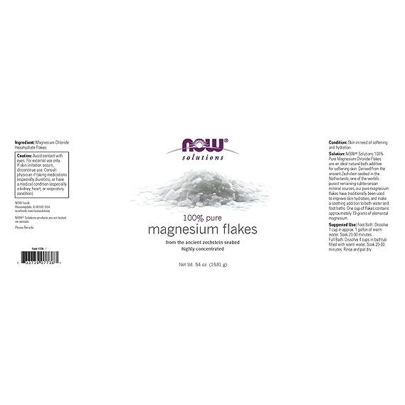 Now Foods Suplemento de copos de magnesio 100% puro, 1531 g ...