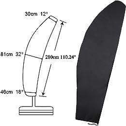 ESSORT パラソルカバー 210D 伸縮ロッド付き 傘カバー 屋外パラソル用 梅雨対応 四季通用 ブラック 片持ち傘に