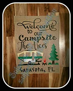 NTD Personalized Garden Flag-Welcome to Our Campsite with Popup/!!/ Customized Camping Burlap Garden Flag with Camper/Yard/Campsite/Whimsical Saying Gift-Absolutely