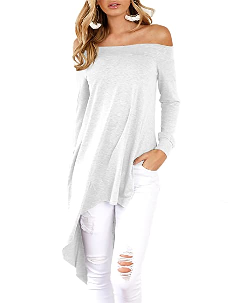 0e43a8094f221a Ninimour Womens Off Shoulder Tops Side Slit High Low T Shirts White ...