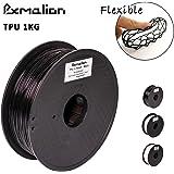 Pxmalion Flexible TPU 3Dプリンター用FLEX弾性樹脂フィラメント素材 フレキシブルマテリアル弾性曲がりやすい 柔軟性も耐久性も優れる 1.75mm径 正味量1KG(2.2LB) 精確度+/- 0.03mm だいぶの3Dプリンターが適用 (黒/ブラック)