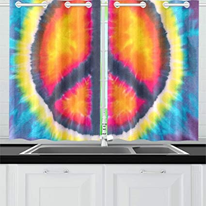 d4270c01 JTMOVING Abstract Peace Sign Design Tie Dye Stock Photo Kitchen Curtains  Window Curtain Tiers for Café