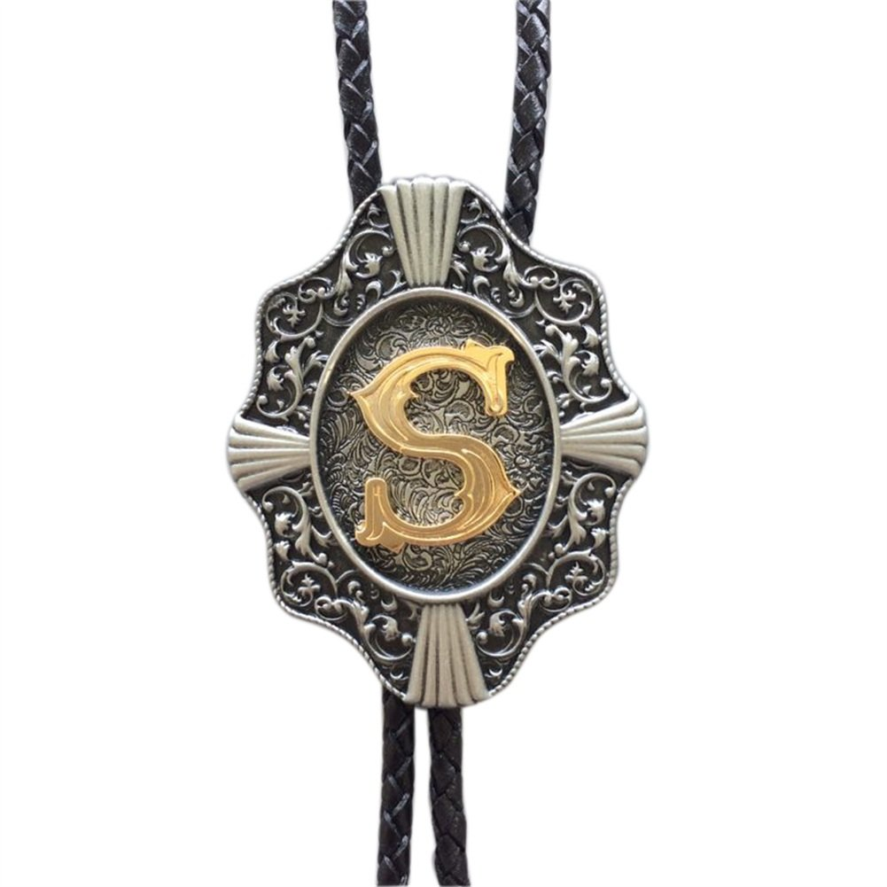 Original Vintage Initial Letter S Leather Bolo Tie also Stock in US