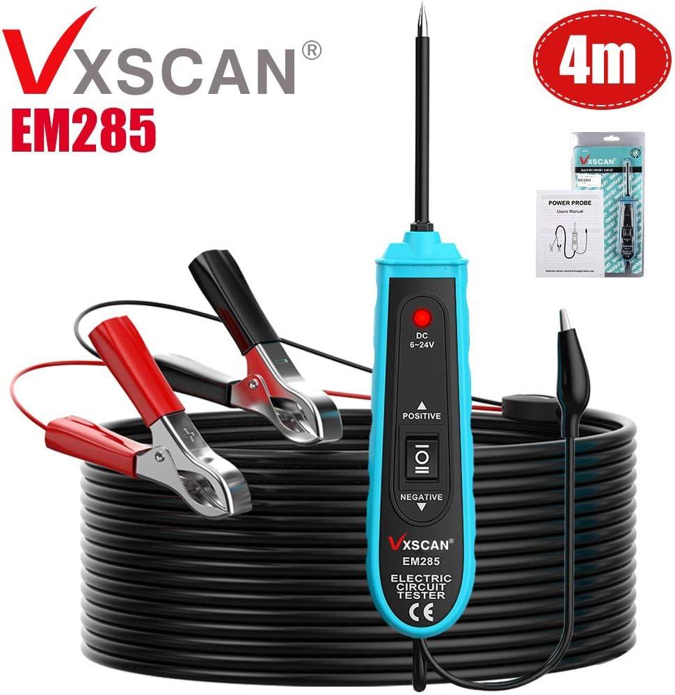 Keenso Testeur de Circuit de Tension Sonde Appareil de Contr/ôle 6V 24V pour les Syst/èmes de Basse Tension avec la Lumi/ère dIndicateur Stylo de Test /Électrique