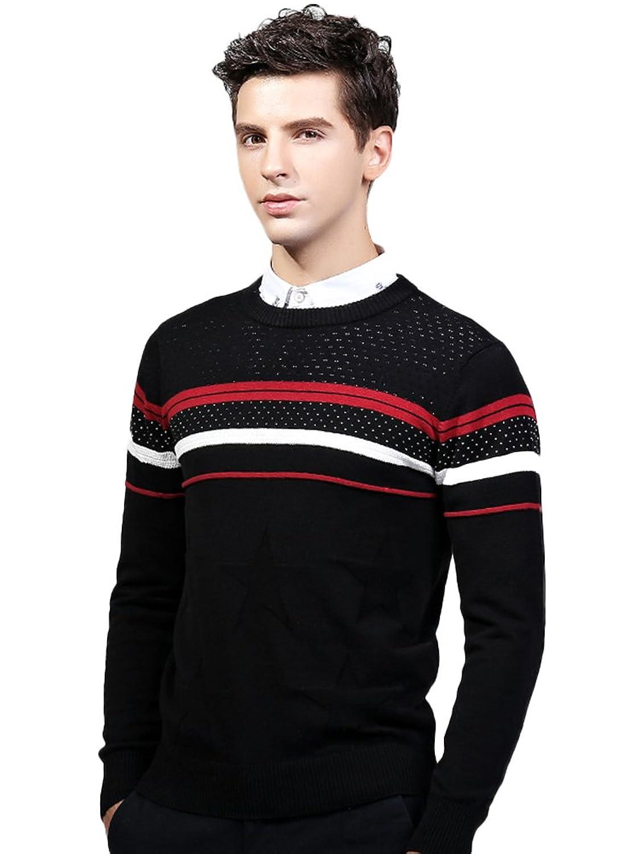 Insun Men's Slim Fit Colorblock Round Collar Cotton Pullover Sweater
