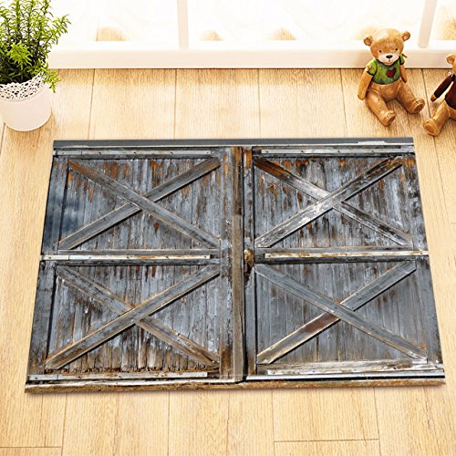 LB Rustic Wood Plank Barn Door Print Bathroom Rugs, Safe Non Slip Backing Comfortable Soft Surface, Texas Western Country Theme House Decor 15 x 23 (Dallas Cowboys Woven Tapestry Throw)