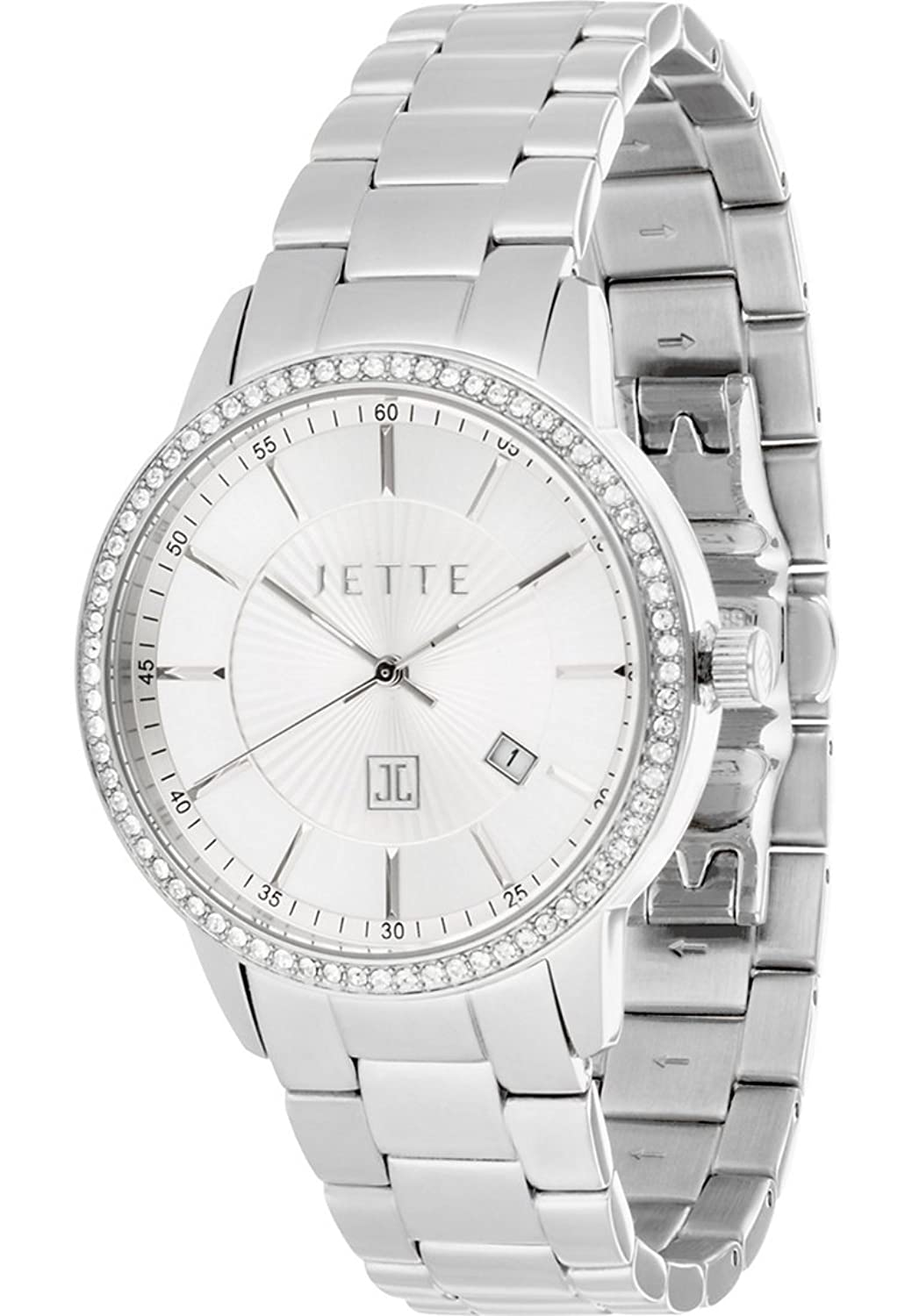 JETTE Time Damen-Armbanduhr Reflection Analog Quarz (One Size - silber)