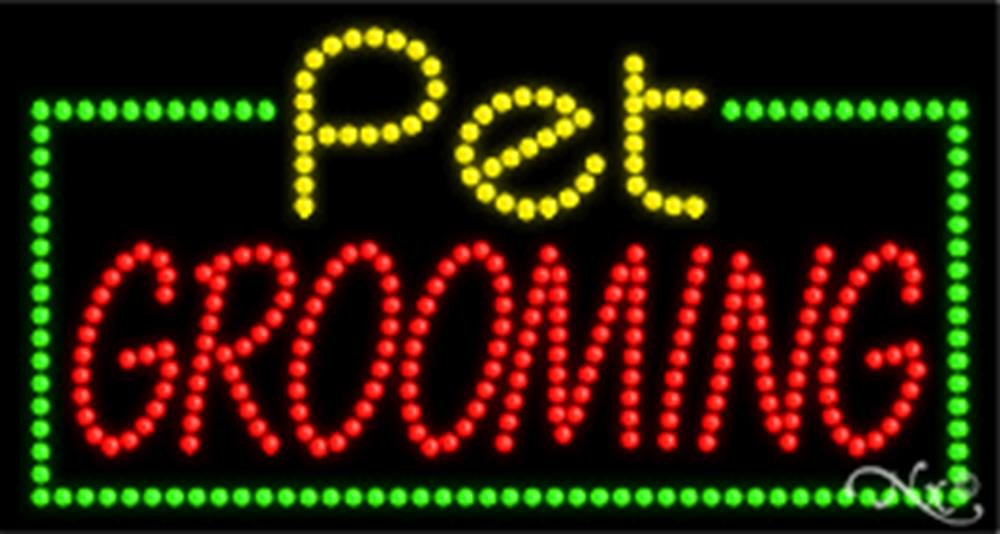 17x32x1 inches Pet Grooming Animated Flashing LED Window Sign
