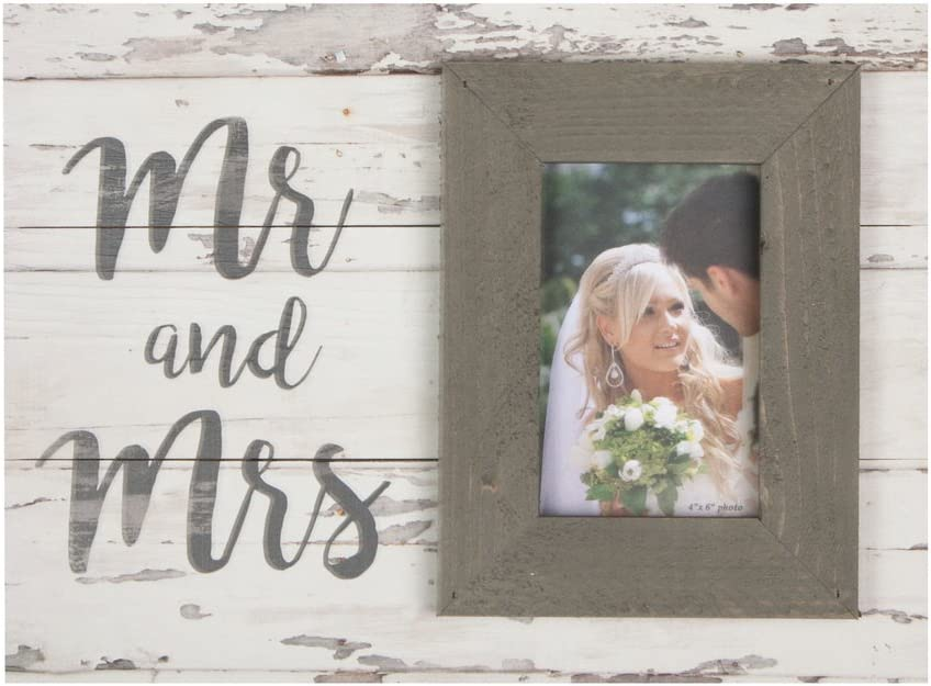 P. Graham Dunn Mr & Mrs Script Whitewash 17.5 x 17 Wood Wall Hanging Photo Frame Plaque